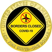 USA BORDERS CLOSED COVID-19 series CORONAVIRUS American Silver Eagle 2020 Walking Liberty $1 Silver coin Gold plated 1 oz